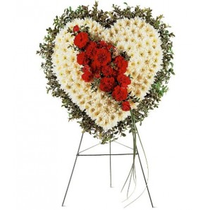 White Heart with Red Carnations